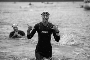 2019 exmoor swim exiting the water